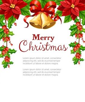 Piękny czerwony kwiat poinsettia i jemioła z zielonymi liśćmi i dwa dzwonki z czerwoną kokardą ilustracja świątecznych dekoracji na białym tle z miejscem na tekst