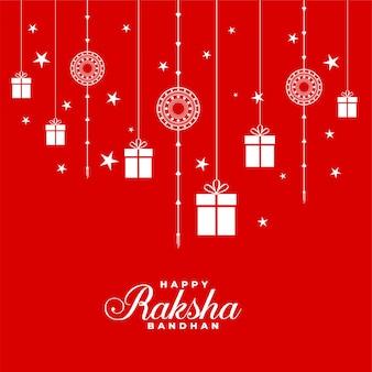 Piękny czerwony raksha bandhan tło z rakhi i prezentami