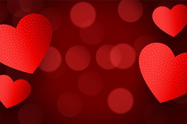 Piękny czerwony serca tło z efekt bokeh