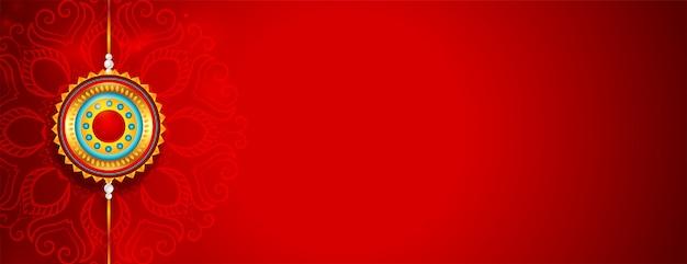 Piękny czerwony szczęśliwy raksha bandhan banner z miejsca na tekst