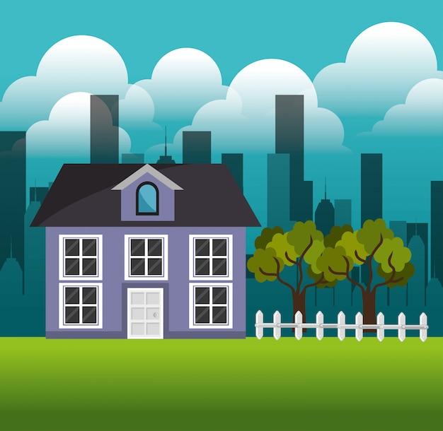 Piękny dom przedmieście krajobraz rodziny