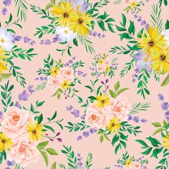 Piękny dziki kwiat wzór bez szwu