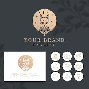 Piękny Egipt Cat Elegant Line Art Logo Edytowalny Szablon Premium Wektorów