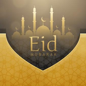 Piękny eid festiwal pozdrowienia projekt karty z złotego dekoracji