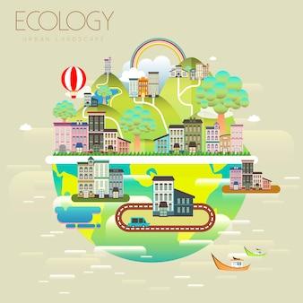 Piękny ekologiczny krajobraz miejski w stylu płaski