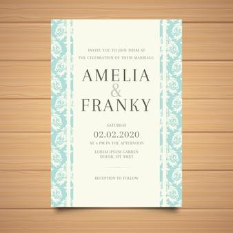 Piękny elegancki adamaszku szablon zaproszenia ślubne
