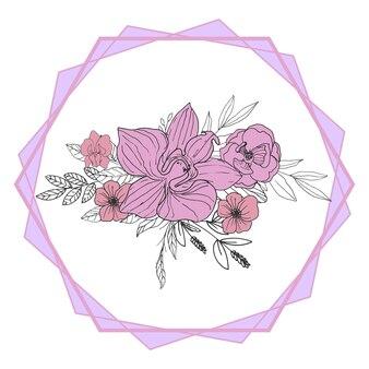 Piękny fioletowy bukiet kwiatów linii