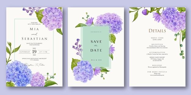 Piękny fioletowy hortensja zaproszenie na ślub akwarela