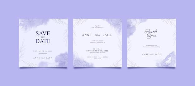 Piękny fioletowy kwadrat akwarela zaproszenie na ślub