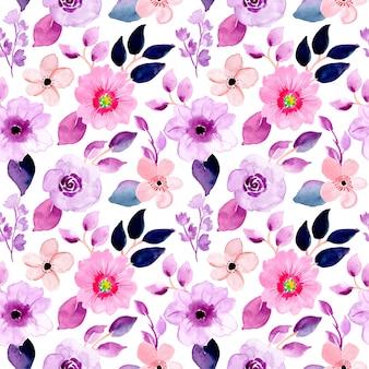 Piękny fioletowy kwiatowy wzór akwarela