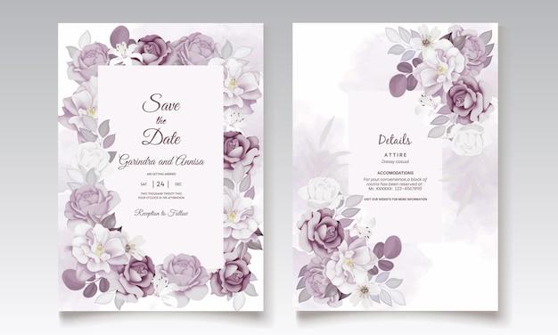 Piękny fioletowy kwiatowy zaproszenie na ślub