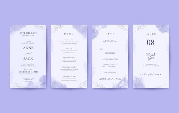 Piękny fioletowy pionowy szablon zaproszenia ślubne