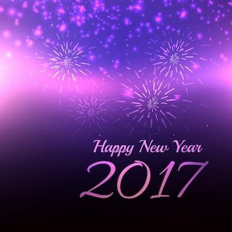 Piękny fioletowy tło dla nowego roku 2017 obchody z fajerwerkami