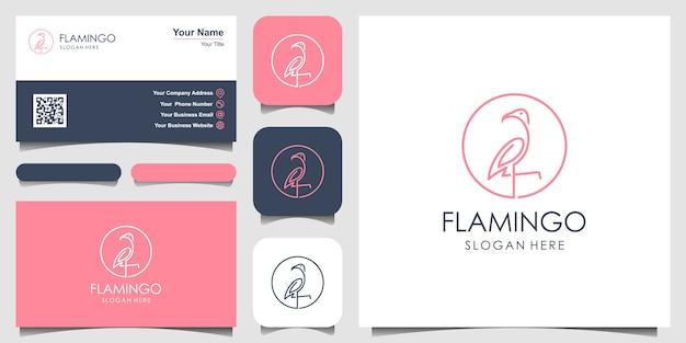 Piękny flaming z prostym stylem linii. projekt logo i wizytówki