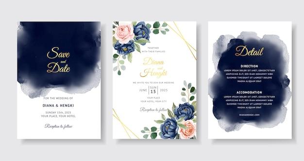 Piękny granatowy akwarela na karcie zaproszenie na ślub