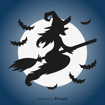 Piękny Halloween Czarownica Tle Premium Wektorów