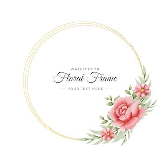Piękny handdrawn akwarela kwiatowy rama szablon z liśćmi i wzorem kwiatów