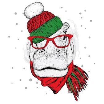 Piękny hipopotam w sylwestrowych i świątecznych ubraniach