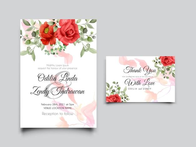 Piękny i elegancki design róże akwarela zaproszenie na ślub szablon