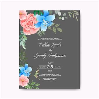 Piękny i elegancki kwiat i liście zaproszenia ślubne