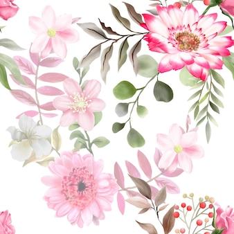 Piękny i elegancki kwiatowy wzór akwarela