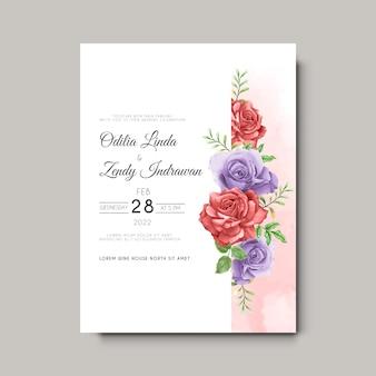 Piękny i elegancki ręcznie rysowane szablon zaproszenia ślubne kwiat róży