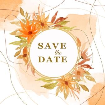 Piękny i elegancki szablon karty zaproszenie na ślub kwiatowy akwarela