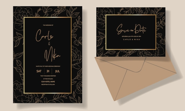 Piękny i elegancki szablon karty zaproszenie na ślub kwiatowy