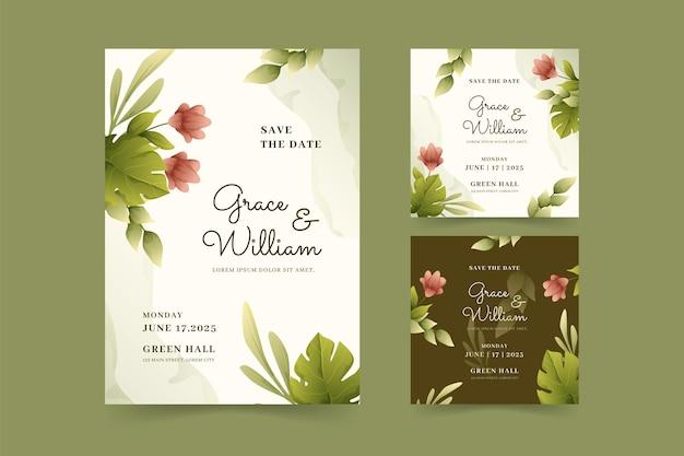 Piękny i elegancki szablon zaproszenia ślubnego