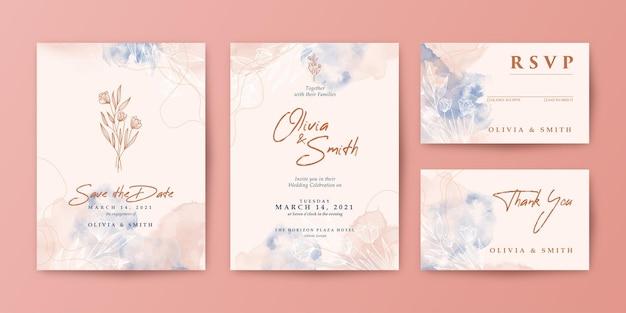 Piękny i romantyczny zestaw zaproszenia ślubne akwarela
