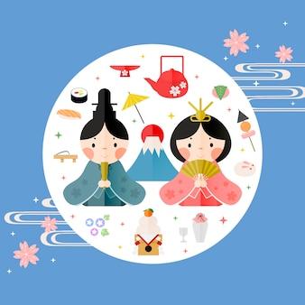 Piękny japoński plakat festiwalu lalek deisgn w stylu płaski