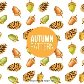 Piękny jesienny wzór pinecorns akwarelowych i żołędzi
