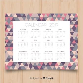 Piękny kalendarz 2019 szablon