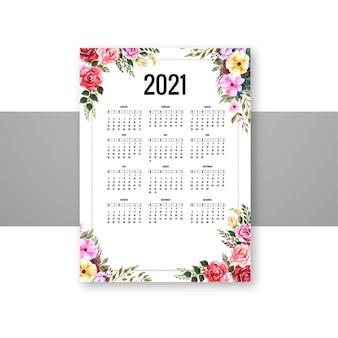Piękny kalendarz 2021 z ozdobnym wzorem kwiatowym szablonu