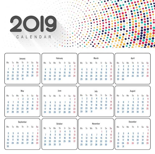 Piękny kalendarz kalendarza 2019