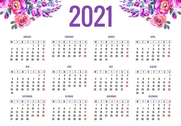 Piękny kalendarz na 2021 w kolorowy kwiatowy wzór