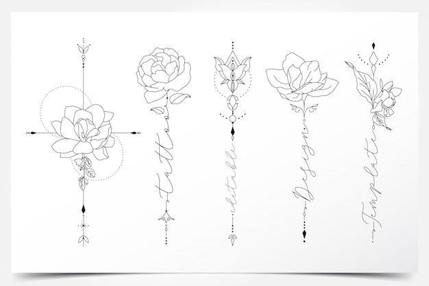 Piękny kobiecy edytowalny tatuaż kwiatowy