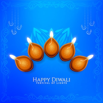 Piękny kolor niebieski happy diwali festiwalu pozdrowienia tło