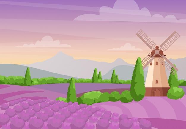 Piękny kolorowy krajobraz z wiatrakiem na polach lawendy. lawendowy krajobraz z górami i zmierzchem. koncepcja prowansji w stylu płaski.