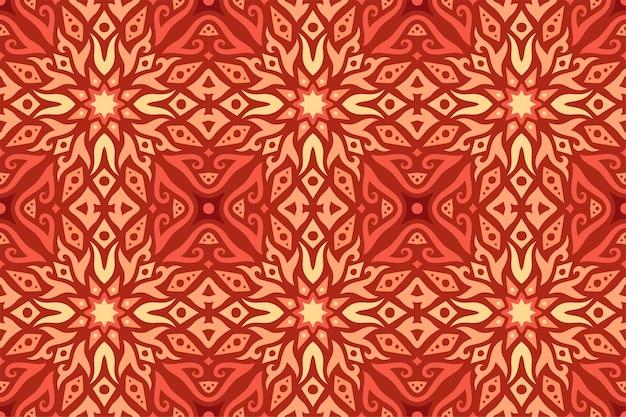 Piękny Kolorowy Wzór Ognia Płytki Bez Szwu Czerwony Premium Wektorów
