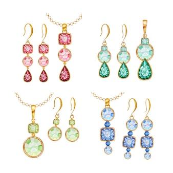 Piękny komplet biżuterii. czerwone, zielone, niebieskie kryształowe kwadratowe, okrągłe koraliki z kamieniami szlachetnymi ze złotym elementem. akwarela rysunek złoty wisiorek na łańcuszku i kolczykach