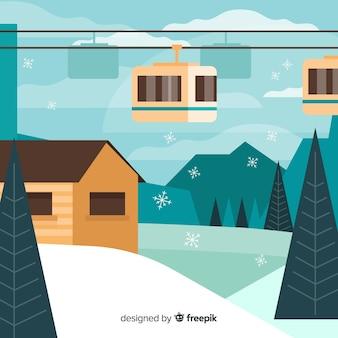Piękny kompozycja zimowy krajobraz