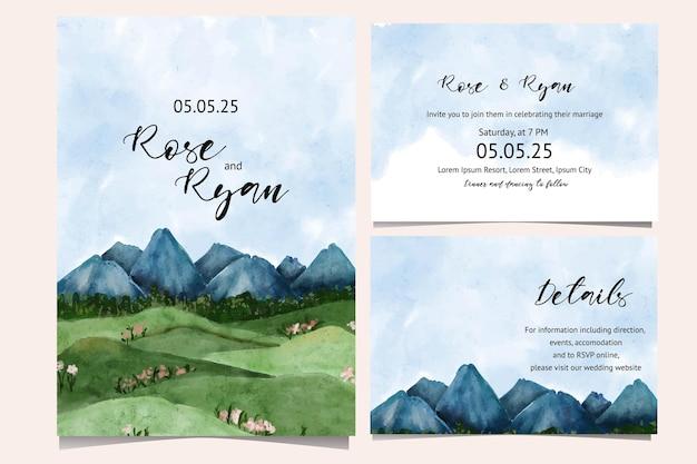 Piękny krajobraz akwarela ilustracja do karty ślubnej, plakat