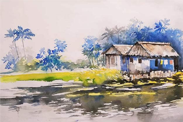 Piękny krajobraz akwarela szkic ręcznie rysowane ilustracji