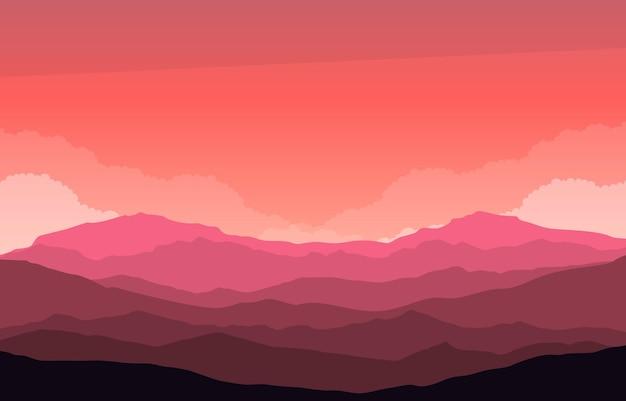 Piękny krajobraz górskiej panoramy w płaskiej czerwonej monochromatycznej ilustracji