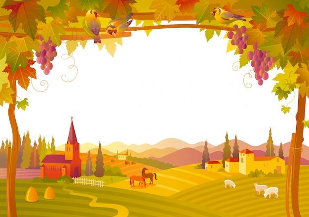 Piękny krajobraz jesień. upadek wsi z kościołem, willą, winnicą. ilustracji wektorowych.