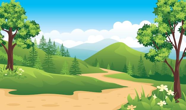 Piękny krajobraz przyrody z wiejską drogą, letni krajobraz z płaskim stylem