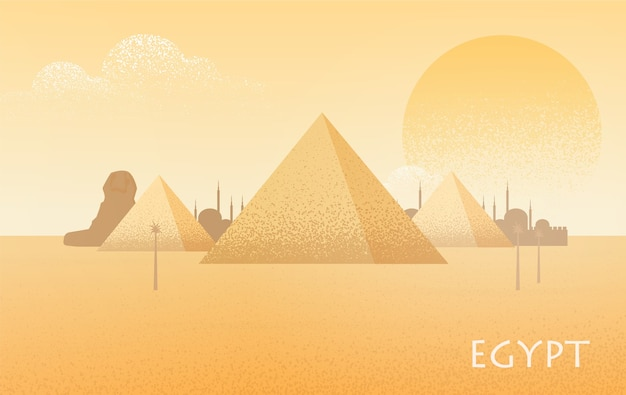Piękny krajobraz pustyni egiptu z sylwetkami kompleksu piramid w gizie, posągiem wielkiego sfinksa, tradycyjnymi budynkami i dużym palącym słońcem na tle