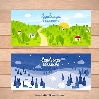 Piękny krajobraz transparenty z drzew
