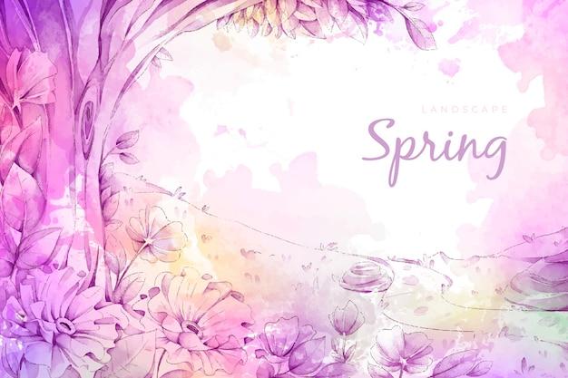 Piękny krajobraz wiosna akwarela